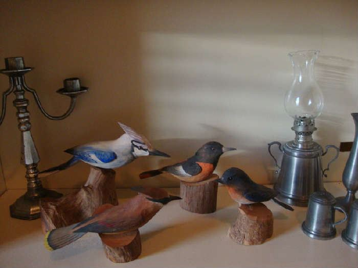 Wood Carved Birds by Doug Ship and Pewter