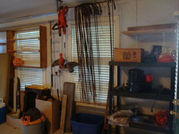 Lots of Shepard's Hooks, Shop Vac, Weed Eaters  various tools and Yard Supplies