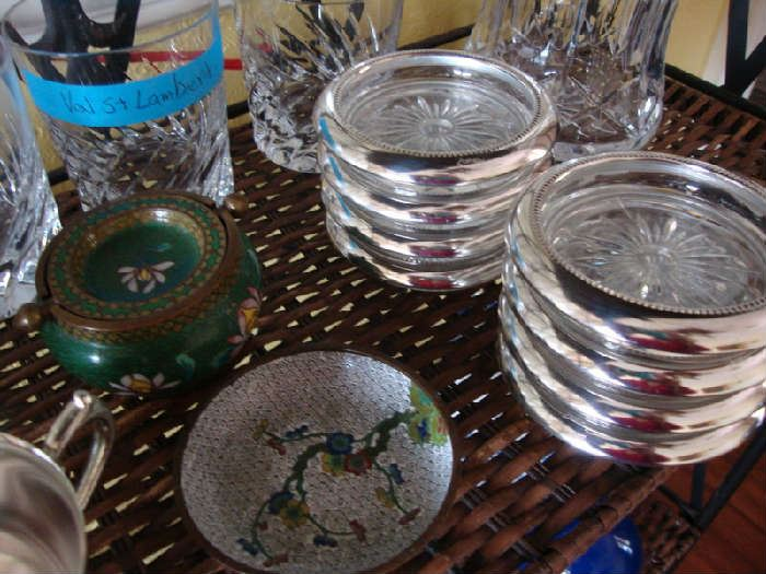 Enamelware and Val St. Lambert Crystal, Also Rosenthal Crystal Glasses