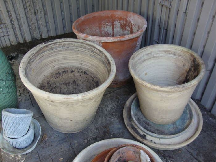 Large Clay Pots, Those smaller pots on the left are made of Lead