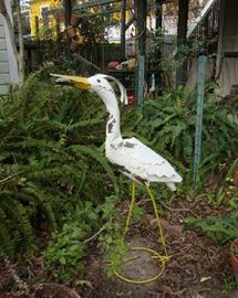 Large Metal Egret in the Court Yard
