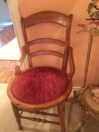 Another small antique chair; brass plant stand
