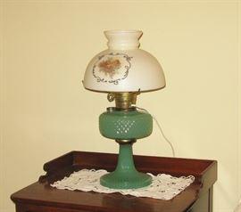 jadite hurricane lamp with original shade