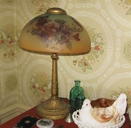 reverse painted shade lamp, milk glass chicken
