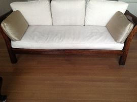 """Beautiful heavy wood-framed sofa/couch with neutral linen upholstery (backed for upholstery use). All cushions have zippers for cleaning. APPROXIMATE DIMENSIONS: WIDTH: 88"""" DEPTH: 31.5"""" HEIGHT: 31"""" SEAT HEIGHT: 19"""" SEAT CUSHION DEPTH: 26.5"""" SEAT CUSHION WIDTH: 67"""". See matching love seat. Can arrange delivery."""