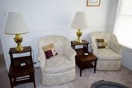 White club chairs wi th h pair of mahogany end tables