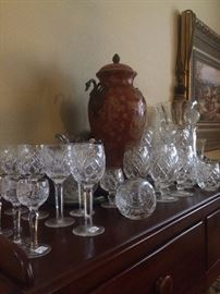 Antique display cabinet and lovely stemware