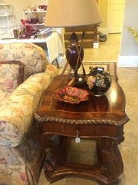 One of two matching side tables; golf lamp