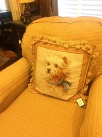 Sherrill occasional chair; adorable accent pillow