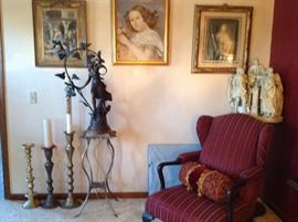 "Oueen Ann WingBack chair, Antique bronze lamp ""Signed by artist, Beautiful Sculpture, two French Pictures"