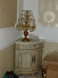 Marble top corner cabinet & Ornate crystal lamp