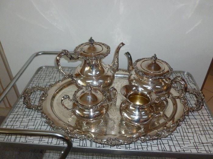 Gorgeous heavy ornate silver plate tea set