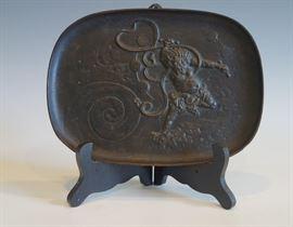 JAPANESE IRON PLAQUE OF SHOKI THE DEMON SLAYER - MEIJI PERIOD 1868-1912.