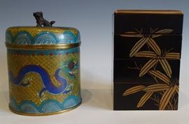 CLOISONNE HUMIDOR AND A LACQUER PICNIC BOX WITH NASHIJI INTERIOR