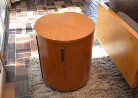 SOLD--Lot #103, Mid Century Modern Round Side Table / Cabinet, $200