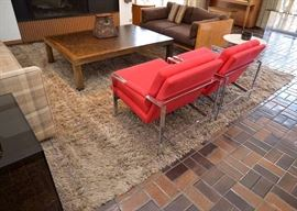 BUY IT NOW!  Lot #104, Large Shag Area Rug (Red Chairs NOT for Sale), $400