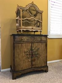Granite Top Painted Cabinet and Antique Florentine Bird Cage