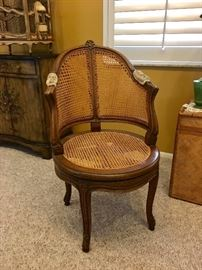 Antique Swivel Cane Chair