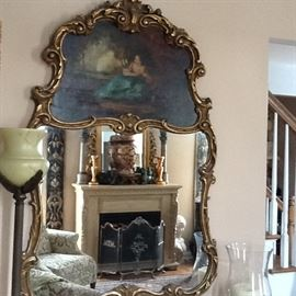 Antique Mirror.    Oil painting on top.