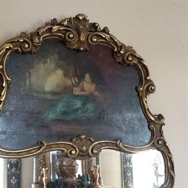 1800's. Antique  Trumeau Mirror Original artwork / OIL on CANVAS Large  5 ft tall $3500.