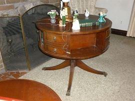 Vintage mahogany drum table