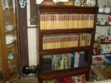 3 shelf barrister bookcase, set of Zane Grey in mint condition as well as many more older books