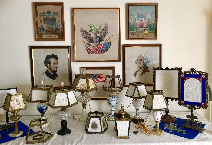 Large Collection of Antique Lithophane Lamps and Candle Screens