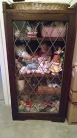 **ANTIQUE** LEADED GLASS BOOK CASE