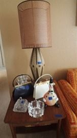 Great mid century modern style lamp, side table, glassware and purses!