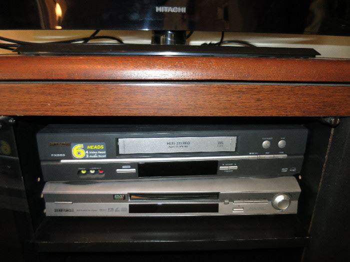 Hitachi VHS Player And Hitachi DVD Player