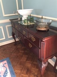 """Stoneleigh 60th Anniv. Commemorative Collection"" - beautifully detailed, solid mahogany Chippendale server/buffet"