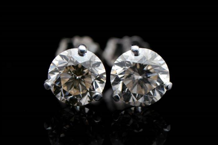 42a9e0daa 1.46 CTW Diamond and 14K White Gold Stud Earrings: 1.46 CTW Diamond and 14K  White