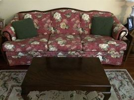 Floral sofa with wood accent, Broyhill, new condition