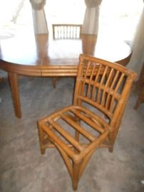 Bamboo/rattan dining table & 6 chairs