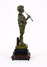 Bronze figure, Young Boy Playing Flute, European, marble base w/carved wood stand                           ~ 8.5 x 3.5 x 3 inches
