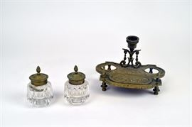 Double Ink Well w/Candle holder, brass and glass, mid to late 19th C.                                                                        ~ 5.25 x 7 x 5.5 inches