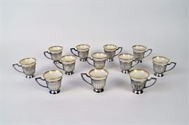 Lot of Lenox Porcelain Demitasse Cups with Sterling Silver overlay and handles.