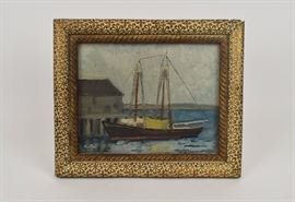 Oil on board, American, Sailboat at Dock, Mary Clements Yates, (B. 1891), Signed L.R.