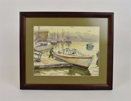 Australian watercolor, Boats in a Harbor, Joseph Margulies (1896-1984)