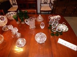 "Vintage forest green ""Burple"" stemware, etc"