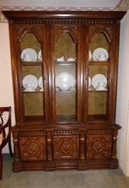 "60's ""Mediterranean"" style china cabinet. This would be stunning painted white...."
