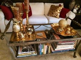 metal & glass coffee table, brass accents