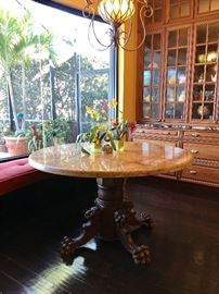 Fabulous Antique Carved Lion Head and Foot Table with new Granite Top