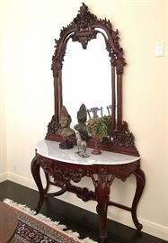 Rococo Marble Top Demilune Table and Mirror