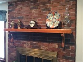 Accessories on fireplace mantle