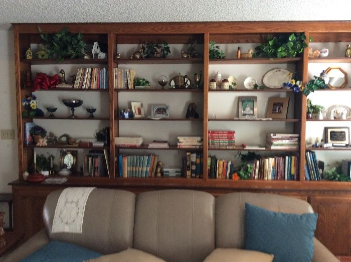 Lovely leather sofa and collectibles on shelf unit in background.