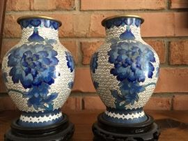 Pair blue & white cloisonné vases