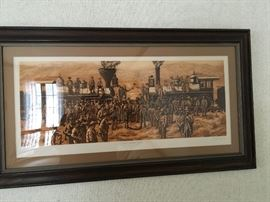 """Limited edition print, """"East Meets West"""", depicting Chinese Railroad workers building the Trans Railroad"""
