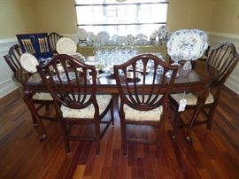 Ethan Allen Dining Room suite with Shield Back chairs