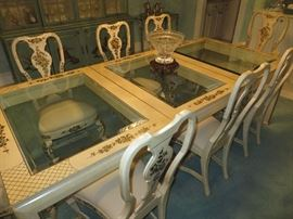 GLASS INSERT TOP DINING TABLE  / 8 QUEEN ANNE CHAIRS WITH HAND PAINTED ACCENTS				 UNION NATIONAL FURNITURE	(shown with leaf/ extended to seat 8)
